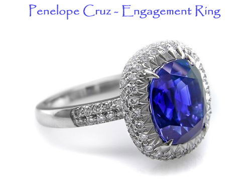 Penelope Cruz blue sapphire wedding engagment ring