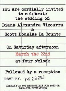 library card unique wedding invitations