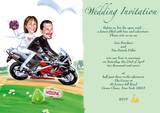 motorcycle wedding invitation