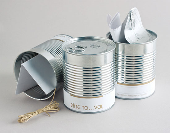 wedding invitation in a can