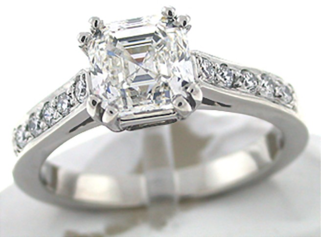 72 facet Asscher Cut Engagement Rings