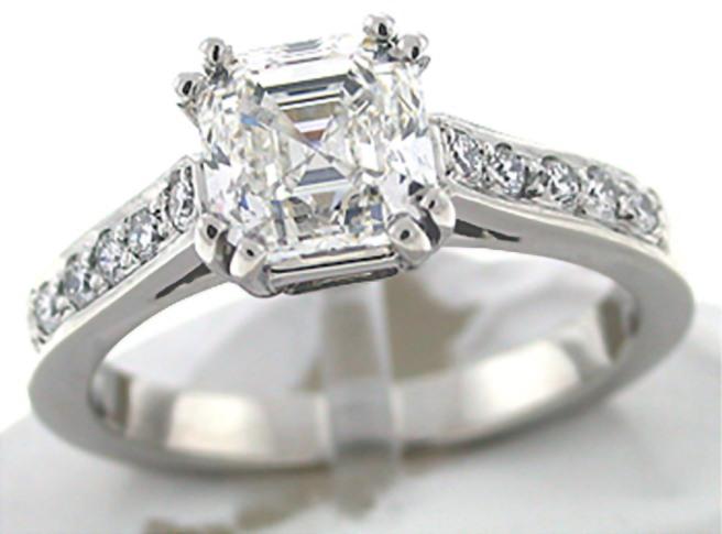 72 facet Asscher Cut Engagement Rings