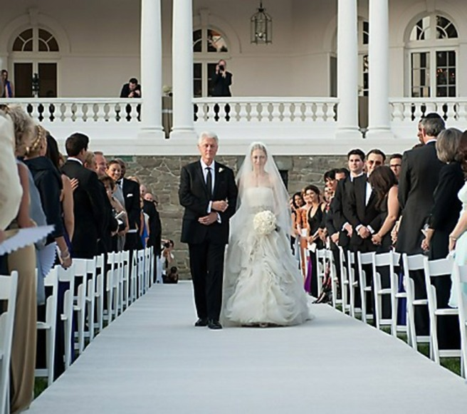 Bill Clinton walking Chelsea down the aisle at her wedding