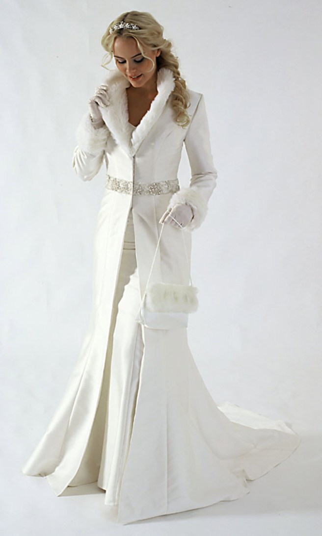 White winter wedding fur dress