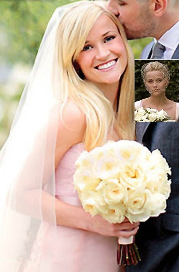 Reese Witherspoons pink wedding dress by Monique Lhuillier