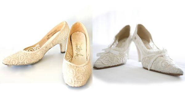Custom Vintage White Lace Bridal Flats/Heels