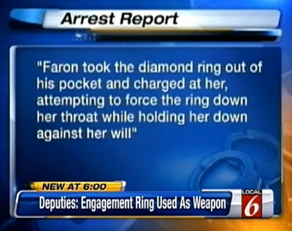 29-year-old man was arrested in Orlando on suspicion of trying to force his fiancee to swallow her diamond engagement ring because she no longer wanted to live with him.