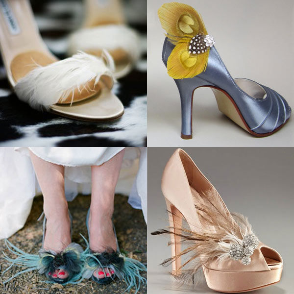 Feathered Bridal Shoes - Natural or Synthetic