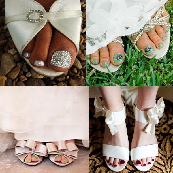 Peep Toe Pedicure Wedding Shoes