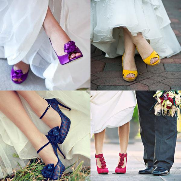 Wedding dress yellow shoes