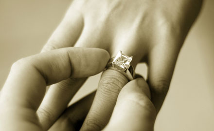 Putting the engagement ring on your fiance