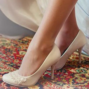 Traditional classic white bridal shoes