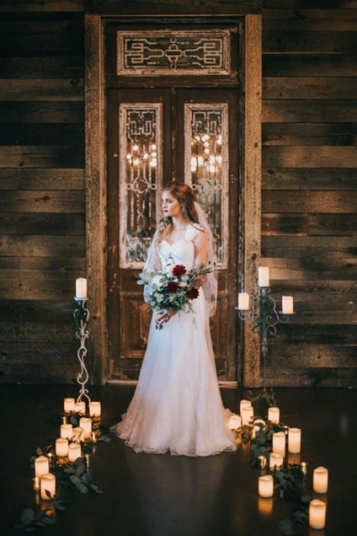 vintage bride candles bouquet